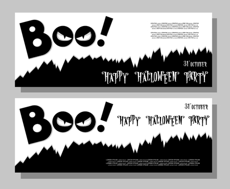 darkness: Halloween banner: monster with scary face looks out of the darkness. Cartoon style. Concept design poster, flyer or ticket on holiday party. Vector illustration isolated on gray background