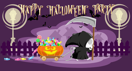 monsters house: Funny little death with a large scythe driving small cart with Halloween pumpkin on the street of the town. Cartoon style. Concept design for banners, posters or cards. Vector illustration