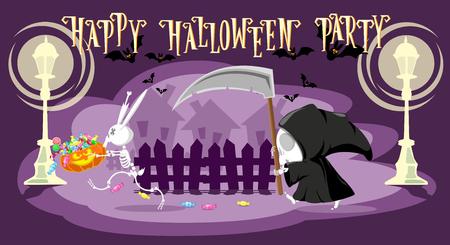 stole: pequeña muerte divertida con una gran guadaña está persiguiendo un esqueleto de conejo robó su calabaza con el caramelo en la calle. estilo de dibujos animados. diseño de concepto para pancartas, carteles o tarjetas. ilustración vectorial