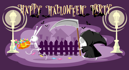 Funny little death with a large scythe is chasing a rabbit skeleton stole her pumpkin with candy on the street. Cartoon style. Concept design for banners, posters or cards. Vector illustration Illustration