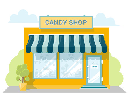 shopfront: Facade candy store with a signboard, awning and products in shopwindow. Abstract image in a flat design. Front shop for concept brochure or banner. Vector illustration isolated on white background Illustration