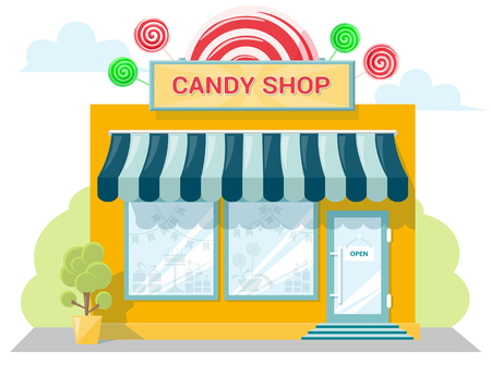 frontage: Facade candy store with a signboard, awning and products in shopwindow. Abstract image in a flat design. Front shop for concept brochure or banner. Vector illustration isolated on white background Illustration