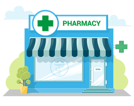 Facade pharmacy store with a signboard, awning and symbol in shopwindow. Abstract image in a flat design. Front shop for Concept brochure or banner. Vector illustration isolated on white background Vettoriali