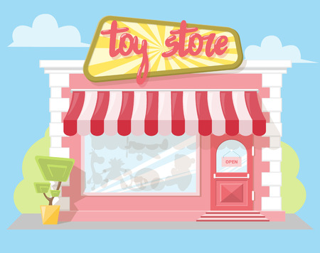 playthings: Facade toy store with a signboard, awning and playthings in shopwindow. Abstract image in a flat design. Front shop for Concept brochure or banner. Vector illustration isolated on blue background