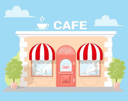 front of house: Facade cafe with a signboard, awning and silhouettes people in shopwindow. Abstract image in a flat design. Front shop for Concept brochure or banner. Vector illustration isolated on blue background
