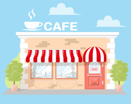 Facade cafe with a signboard, awning and silhouettes people in shopwindow. Abstract image in a flat design. Front shop for Concept brochure or banner. Vector illustration isolated on blue background