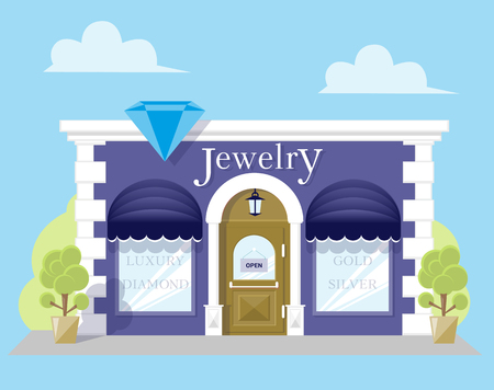 Facade jewelry store with a signboard, awning and silhouettes title in shopwindow. Image in a flat design. Front shop for Concept brochure or banner. Vector illustration isolated on blue background Vector Illustration