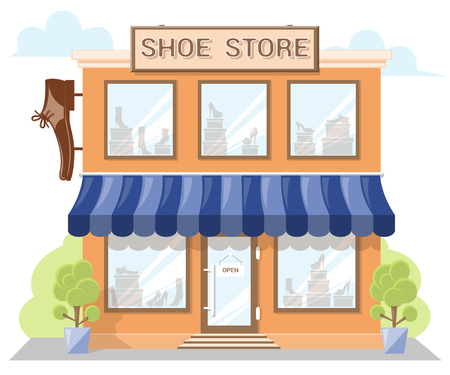 Facade shoe store with a signboard, awning and products in shopwindow. Abstract image in a flat design. Front shop for Concept brochure or banner. Vector illustration isolated on white background
