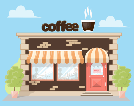 frontage: Facade cafe with a signboard, awning and silhouettes people in shopwindow. Abstract image in a flat design. Front shop for Concept brochure or banner. Vector illustration isolated on blue background