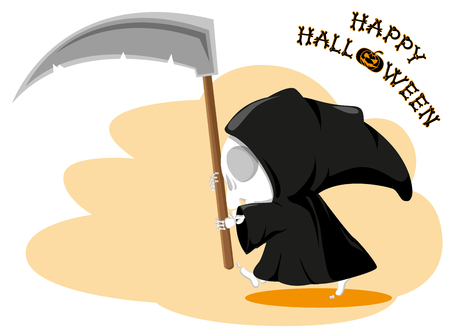 Funny little death with a large scythe with title Happy Halloween isolated on white background. Cartoon style. Vector illustration Illustration