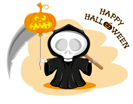 skeleton costume: Funny little death with a large scythe and air balloon with title Happy Halloween isolated on white background. Cartoon style. Vector illustration
