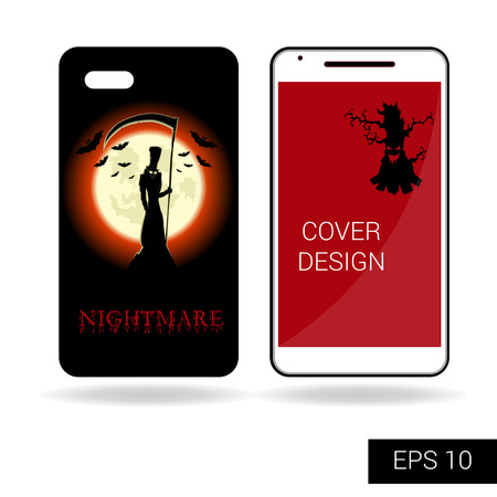 top of mountain: Design cover mobile smartphone with scary monster or death on top mountain on backdrop big moon. Concept in cartoon style isolated on white background. Vector illustration