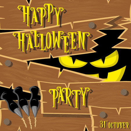 darkness: Halloween banner: black monster with scary face broken wooden wall from old boards and looks out of the darkness. Vector illustration. Cartoon style. Concept design poster or ticket on holiday party.