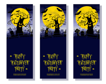 orientation: Set Halloween banners. Scary monsters trees on old cemetery backdrop moon, bats and graves. Design for poster, cards or invites on party. Cartoon style. Vector illustration. Vertical orientation.