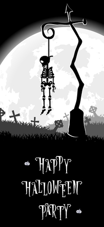 hung: Halloween background. Skeleton hung on a pole in the old cemetery backdrop on scary castle, moon and graves. Concept for banner, poster, flyer, cards or invites on party. Cartoon style. Vector illustration