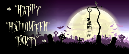 hung: Halloween background. Skeleton hung on a pole in the old cemetery backdrop on scary moon and graves. Concept for banner, poster, flyer, cards or invites on party. Cartoon style. Vector illustration