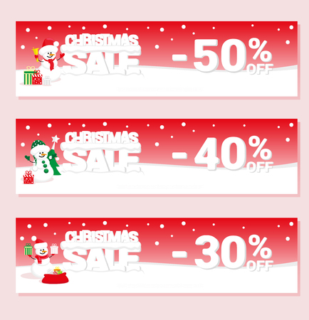 big letters: Banner Christmas sale with snowman and text from big letters on snow. Cartoon style. Vector illustration