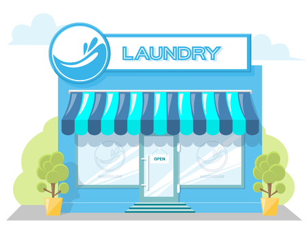 signboard design: Facade laundry. Signboard with emblem, awning and symbol in windows. Concept front shop for design banner or brochure. Abstract image in a flat design. Vector illustration isolated on white background