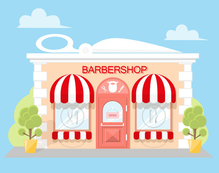 stage door: Facade barbershop. Signboard with emblem, awning and symbol in windows. Concept front shop for design banner or brochure. image in a flat design. Vector illustration isolated on white background Illustration