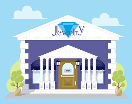 jewelry store: Facade jewelry store with a signboard, awning and antique columns. Abstract image in a flat design. Concept front shop for design banner or brochure. Vector illustration isolated on blue background