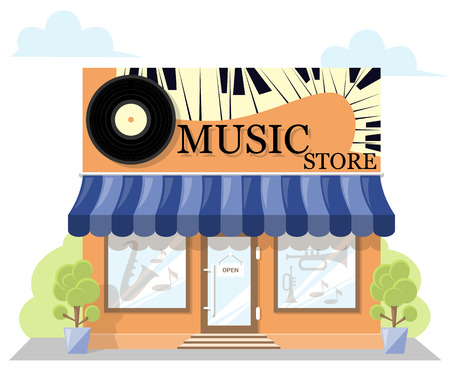 signboard design: Facade music store with a signboard, awning and products in shopwindow. image in a flat design. Concept front shop for design brochure or banner. Vector illustration isolated on white background
