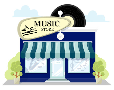 frontage: Facade music store with a signboard, awning and products in shopwindow. image in a flat design. Concept front shop for design brochure or banner. Vector illustration isolated on white background