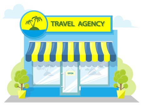 Facade travel agency. Signboard with emblem, awning and symbol in windows. Concept front shop for design banner or brochure. image in a flat design. Vector illustration isolated on white background Illustration