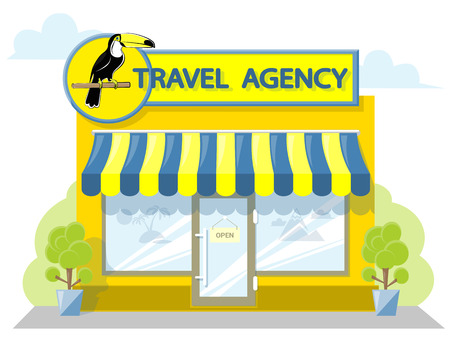 shopfront: Facade travel agency. Signboard with emblem bird toucan, awning and symbol in windows. Concept front shop for design banner or brochure. flat design. Vector illustration isolated on white background Illustration