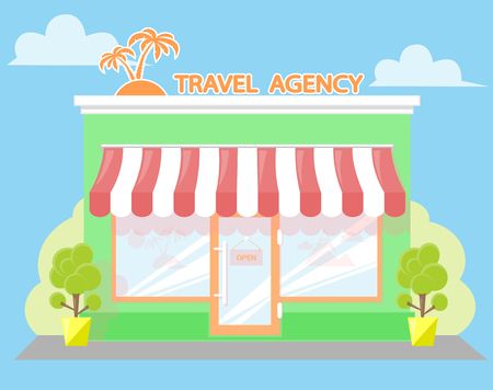 shopfront: Facade travel agency. Signboard with emblem palms, awning and symbol in windows. Concept front shop for design banner or brochure. flat design. Vector illustration isolated on white background