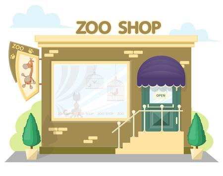 ファサードの動物園のショップ。エンブレム キリン、日除けと windows のシンボル看板。コンセプト デザインのバナーやパンフレットのフロント ・