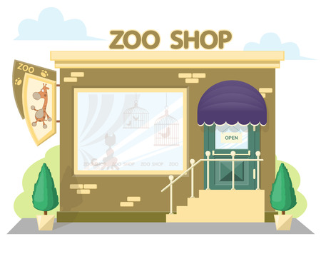 Facade zoo shop. Signboard with emblem giraffe, awning and symbol in windows. Concept front shop for design banner or brochure. image in a flat design. Vector illustration isolated on white background