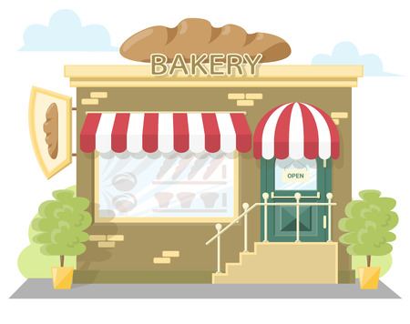 frontage: Facade bakery store. Signboard with emblem loaf bread, awning and symbol in windows. Concept front shop for design banner or brochure. flat design. Vector illustration isolated on white background