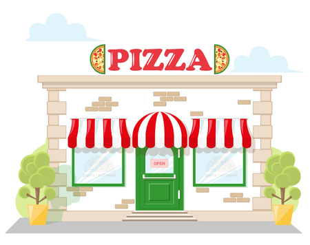 Facade pizzeria with a signboard pizza, awning and symbol in shopwindow. Abstract image in a flat design. Concept for banner or brochure. Vector illustration isolated on white background