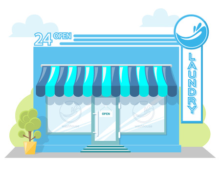 drycleaning: Facade laundry. Signboard with emblem, awning and symbol in windows. Concept front shop for design banner or brochure. Abstract image in a flat design. Vector illustration isolated on white background