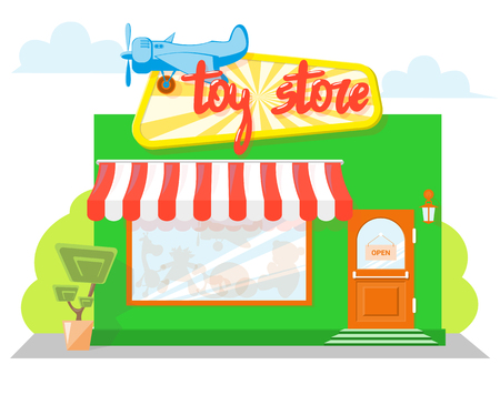 Facade toy store with a signboard, awning and silhouettes toys in shopwindow. Concept front store for design banner or brochure. image in a flat design. Vector illustration isolated on blue background Illustration