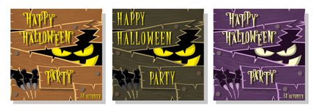 darkness: Set of Happy Halloween banner: monster with scary eyes broken wooden wall from boards and looks out of darkness. Vector illustration in cartoon style. Concept poster, flyer or cards on holiday party. Illustration