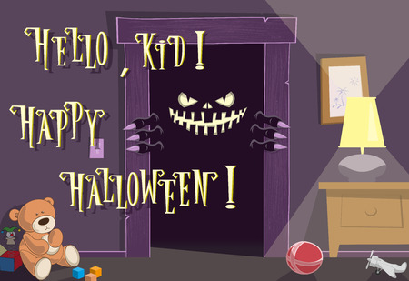 spooky eyes: Happy Halloween background. Night. Spooky nightmare monster looking scary eyes inside kids room from dark door. Cute toys. Concept design holiday poster, banner, flyer or cards. Vector illustration