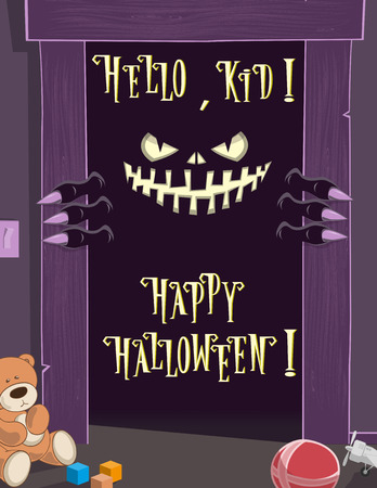 dark eyes: Happy Halloween background. Night. Spooky nightmare monster looking scary eyes inside kids room from dark door. Cute toys. Concept design holiday poster, banner, flyer or cards. Vector illustration