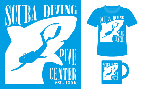 deep blue: Pattern design concept for printing on T-shirts or souvenirs: title Scuba diving. Dive center and figure diver on shark silhouette background. Vintage style hand drawn. Vector illustration Illustration