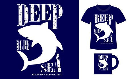 deep blue: Pattern design concept for printing on T-shirts and souvenirs: title Deep blue sea. Atlantic club 1886 and silhouette shark. Vintage style hand drawn. Vector illustration