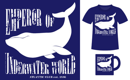 emperor: Pattern design concept for printing on T-shirts and souvenirs: title Emperor of underwater world. Atlantic club 1886 and silhouette whale. Vintage style hand drawn. Vector illustration Illustration