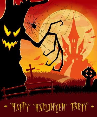 Halloween achtergrond. Monsters bomen op oude begraafplaats achtergrond op eng kasteel, maan, vleermuizen en graven. Concept voor banner, poster, flyer, kaarten of nodigt uit op party. Cartoon stijl. vector illustratie Stock Illustratie