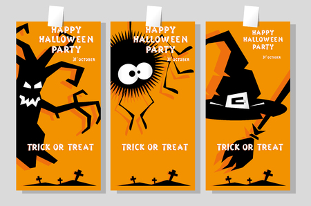 crosses: Set of funny holiday banner: title Happy Halloween party Trick or Treat and witch hat, scary tree, spider. Concept design card, flyer, poster. Vector illustration in flat or kids paper applique style