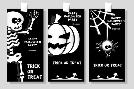 Set of funny holiday banner: title Happy Halloween party Trick or Treat and skeleton, pumpkin, spider. Concept design cards, flyers, posters. Vector illustration in flat or kids paper applique style