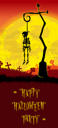 Halloween background. Skeleton hung on a pole in the old cemetery backdrop on scary castle, moon and graves. Concept for banner, poster, flyer, cards or invites on party. Cartoon style. Vector illustration