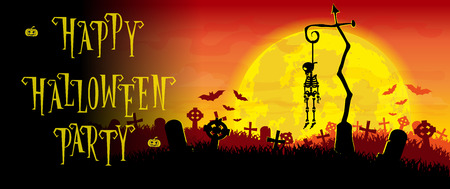 crosses: Halloween background. Skeleton hung on a pole in the old cemetery backdrop on scary moon and graves. Concept for banner, poster, flyer, cards or invites on party. Cartoon style. Vector illustration