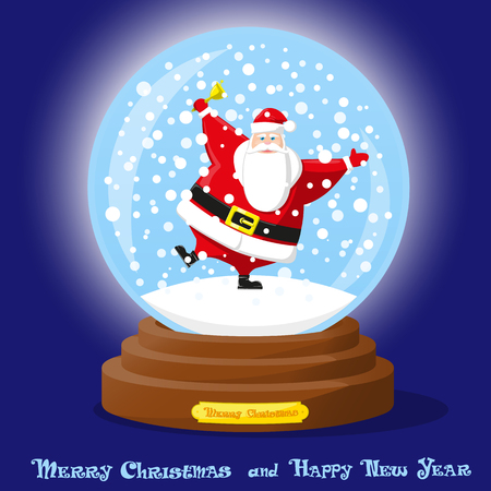 Cute glass Snow Globe. Snowflakes and dancing funny Santa Claus. Merry Christmas and Happy New Year souvenir. Cartoon style. Concept design poster, banner, flyer, greeting card. Vector illustration