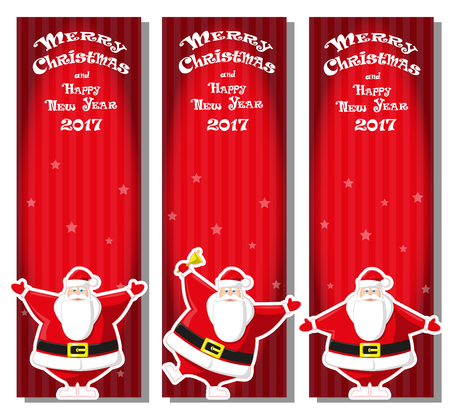 stripped background: Set of Merry Christmas banner with Santa Claus in different poses. Merry Christmas and Happy New Year 2017. Stripped background. Design flyer, poster, greeting card. Cartoon style. Vector illustration Illustration