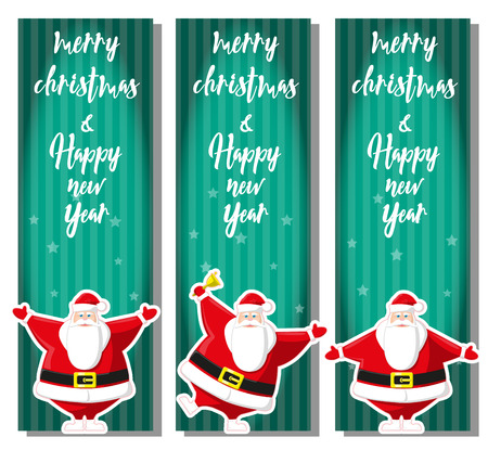 stripped background: Set of Merry Christmas banner with Santa Claus in different poses. Merry Christmas and Happy New Year. Stripped background. Design flyer, poster, greeting card. Cartoon style. Vector illustration