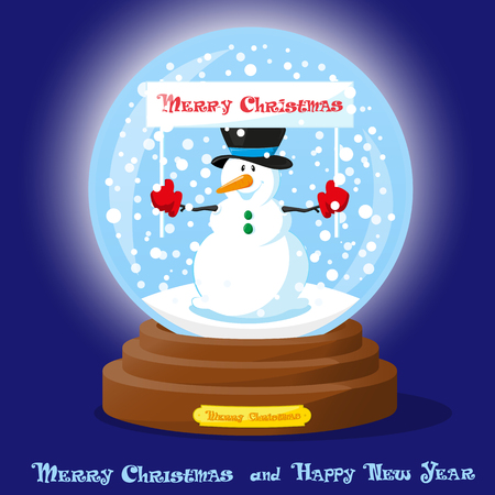 Cute glass Snow Globe with snowflakes, christmas tree and funny Snowman. Merry Christmas and Happy New Year souvenir. Cartoon style. Concept poster, banner, flyer or greeting card. Vector illustration Illustration